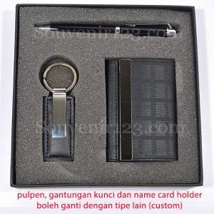 Gift Set Pulpen + Gantungan Kunci + Tempat Kartu Nama (Custom)