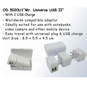 Universal Travel Adaptor USB OD5020U1 Dua Colokan