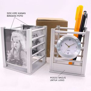 Jam Meja + Pen Holder Stainless JS01