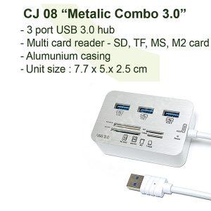 USB Hub Metallic Combo 3.0 + Card Reader CJ08