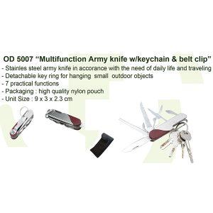 Multifunction Army Knife Keychain Belt Clip OD5007