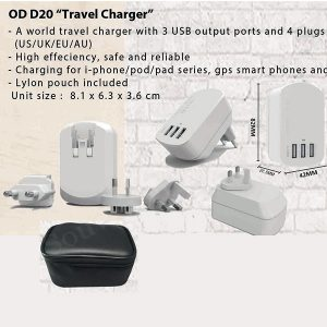 Travel Charger 3 USB Plug ODD20