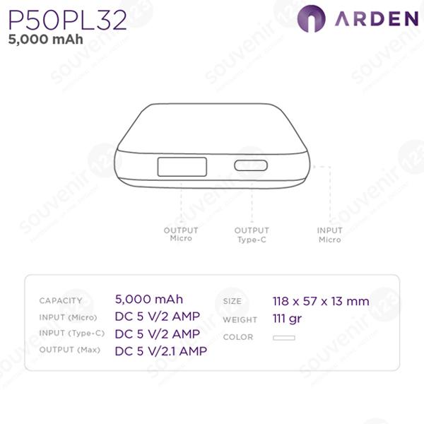 Powerbank Arden 5000mAh P50PL32