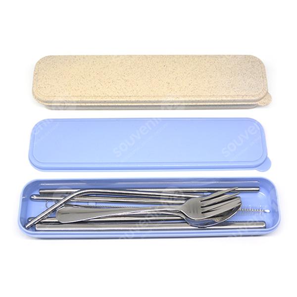 Sedotan Stainless + Sendok Garpu Sumpit Kotak Plastik