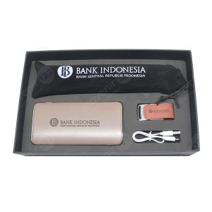 Gift Set Sedotan Stainless + Powerbank + USB (Custom)